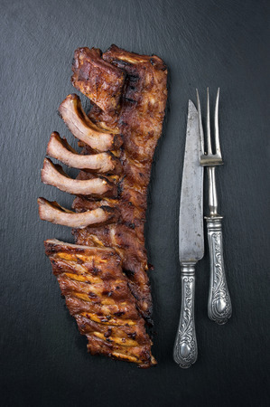 spare ribs: Spare Ribs on Black Background Stock Photo