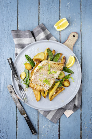 blue fish: Codfish Filet with Vegetable