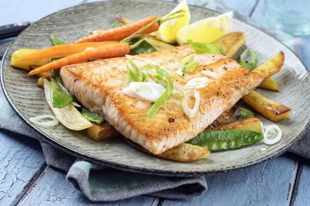 salmon filet: Salmon Filet with Vegetable Stock Photo