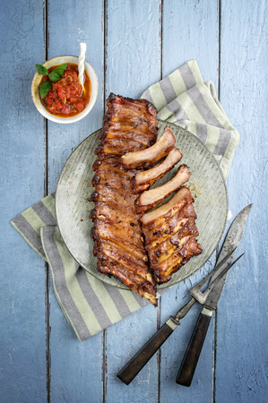 antique dishes: Barbecue Spare Ribs on Plate