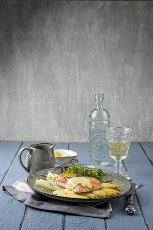 white asparagus: White Asparagus with Salmon Filet Stock Photo