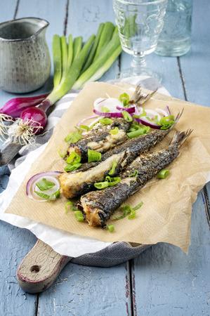 bonne: Barbecue Sardine on Plate Stock Photo