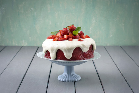 cake plate: Strawberry Cake Stock Photo