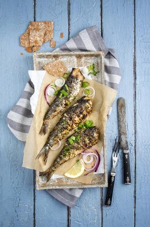 plato de pescado: Sardina barbacoa en la bandeja