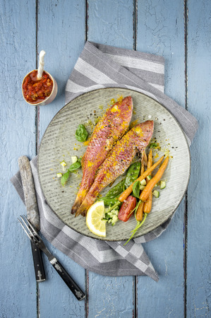 goatfish: Red Mullet on Plate