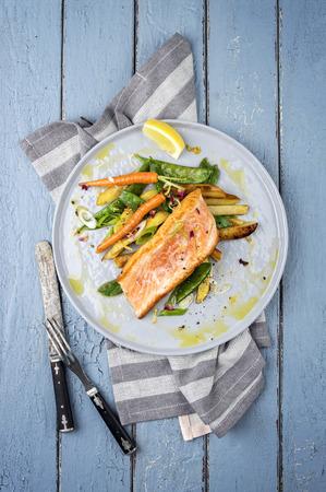 Salmon: Salmon Filet with Vegetable Stock Photo