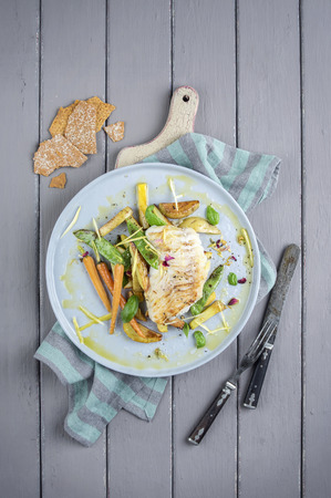fillets: Codfish with Vegetable on Plate Stock Photo