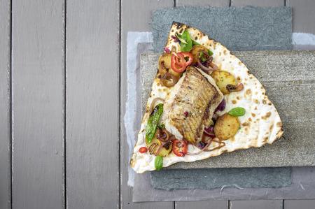 yufka: Coffish Filet with Vegetable on Yufka Bread