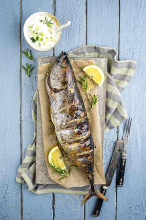 fish plate: Barbecue Bonito on a Tray Stock Photo