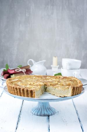 white backing: Rhubarb Cake Stock Photo