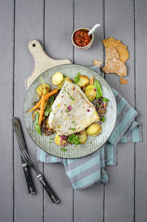 view on sea: Codfish Filet with Vegetable