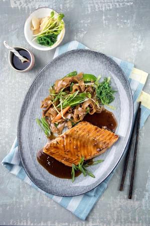 wild rice: Salmon Teriyaki on Plate Stock Photo