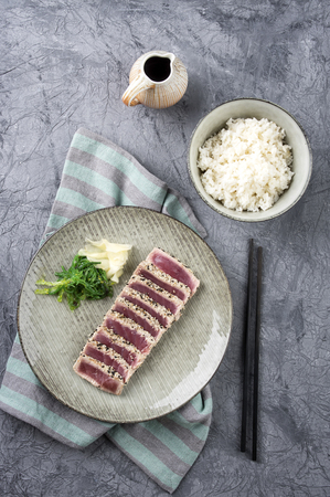 culinary arts: Tuna Tataki with Rice and Wakame Stock Photo