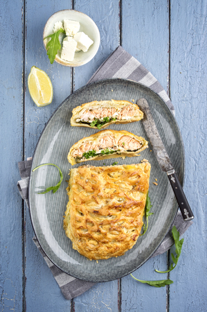 fish plate: Fish Cake on Plate Stock Photo
