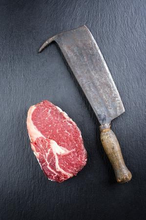 rib eye: Dry Aged Rib Eye Steak Stock Photo