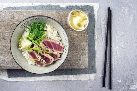 Tuna Tataki with Rice and Wakame Stock Photo