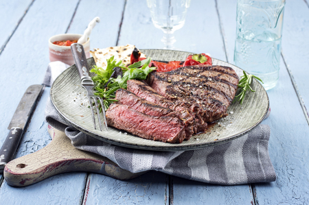 grilled steak: Point Steak on Plate Stock Photo