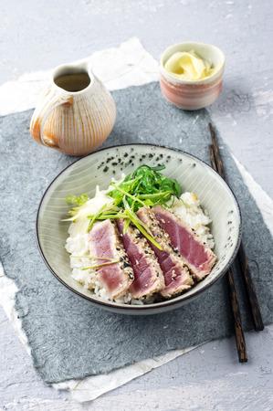 delikatesse: Tuna Tataki with Rice and Lettuce