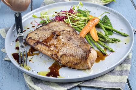 coalfish: Coalfish Teriyaki with Vegetable Stock Photo