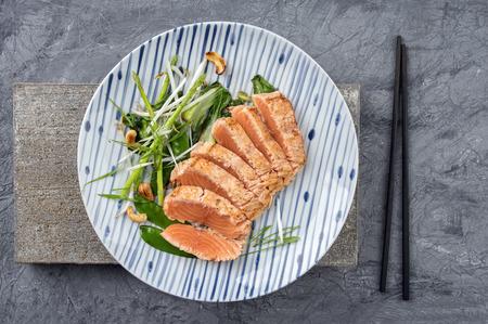japanese food: Salmon Tataki with Lettuce Stock Photo