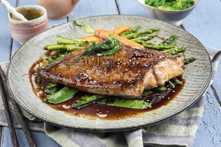 teriyaki: Coalfish Teriyaki with Vegetable Stock Photo