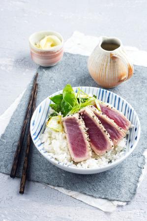 delikatesse: Tuna Tataki with Rice and Vegetable