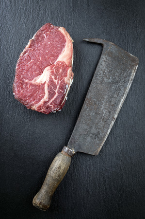 beef cuts: Dry Aged Rib Eye Steak Stock Photo