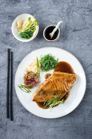 white rice: Salmon Teriyaki on Plate Stock Photo