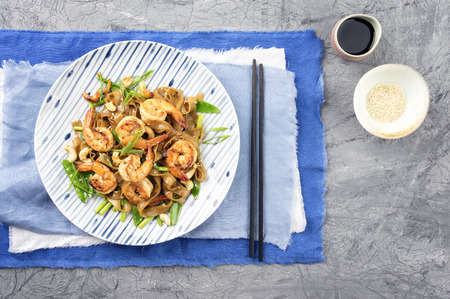 rice noodles: Kingprawn with Rice Noodles and Vegetable on Plate Stock Photo
