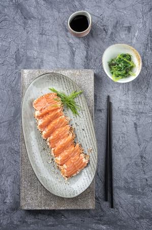 delikatesse: Salom Tataki with Lettuce Stock Photo
