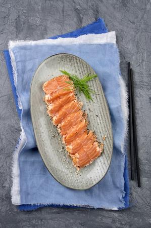 salmo: Salmon Tataki on Plate