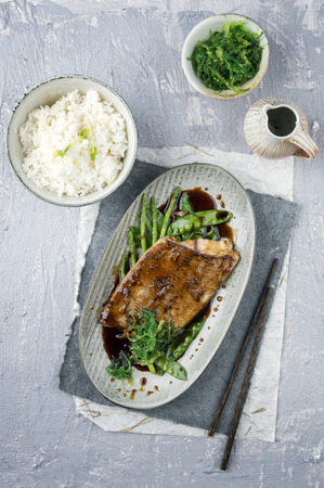 delikatesse: Salmon Teriyaki with Rice and Vegetable