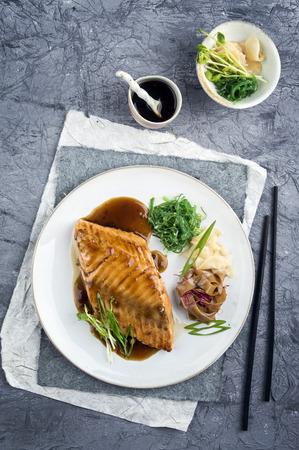 delikatesse: Salmon Teriyaki on Plate Stock Photo