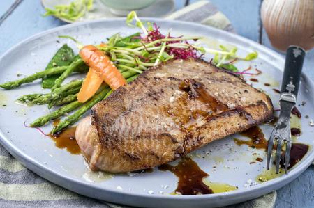 codfish: Coalfish Teriyaki with Vegetable Stock Photo