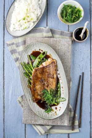 delikatesse: Coalfish Teriyaki with Rice and Vegetable Stock Photo