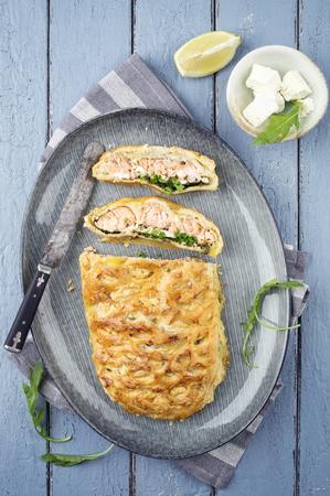 delikatesse: Fish Cake on Plate Stock Photo