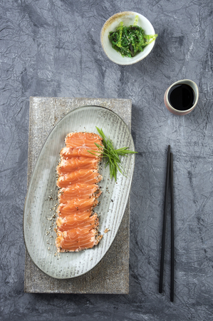 culinary arts: Salmon Tataki with Lettuce Stock Photo