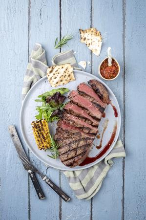 Point Steak on Plate Banco de Imagens