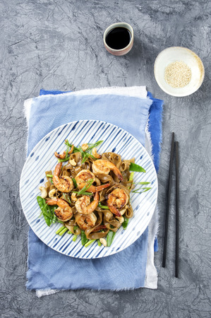 rice noodles: Kingprawns with Rice Noodles and Vegetable on Plate
