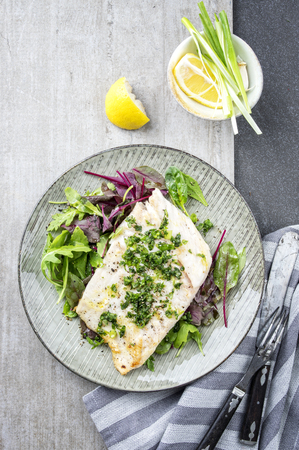 bonne: Coalfish Fillet with Mixed Salad on Plate