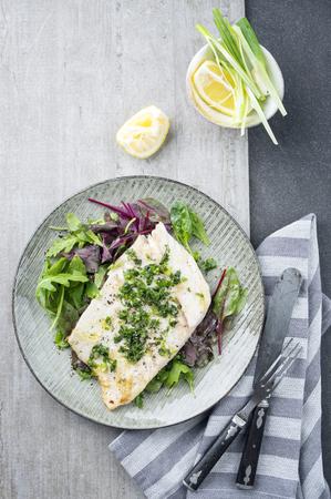 coalfish: Coalfish Filet with Mixed Salad Stock Photo