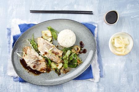 coalfish: Coalfish Teriyaki with Rice and Vegetable Stock Photo