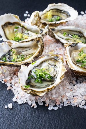 jus: Fresh Oysters Stock Photo