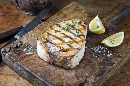 Barbecue Swordfish on Cutting Board