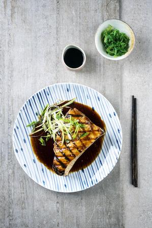 pez espada: El pez espada Filete Teryaki en la placa