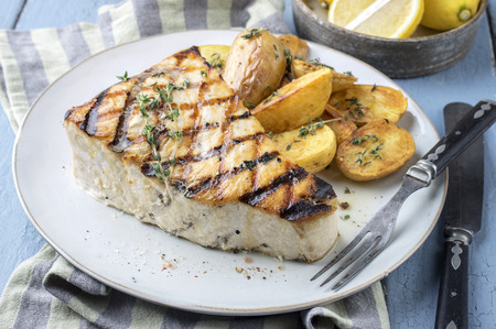 Barbecue Swordfish Steak on Plate