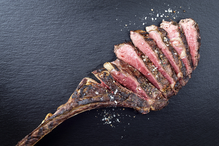 Dry Aged Barbecue Tomahawk Steak 스톡 콘텐츠