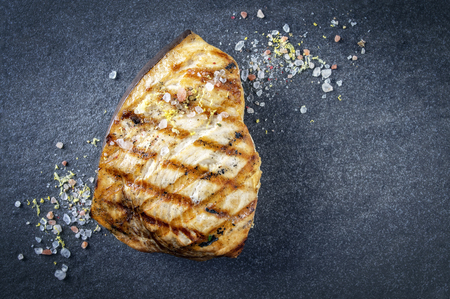 fine fish: Barbecue Swordfish Steak on Stone Board