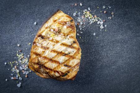 saltwater fish: Barbecue Swordfish Steak on Stone Board