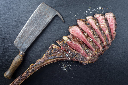 Dry Aged Barbecue Tomahawk Steak Stock Photo